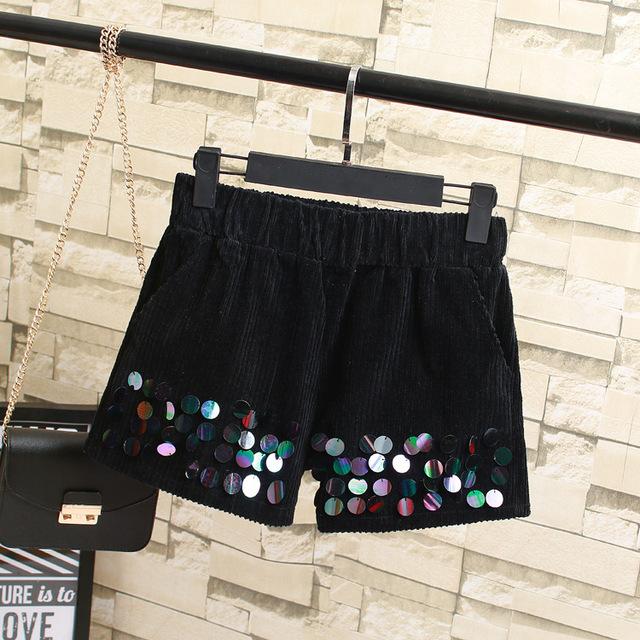 Moda Lentejuelas Mujeres pantalones Cortos Más Tamaño 3XL 4XL Ocasional Elástico de La Cintura Sueltos Pantalones Cortos de Pana Negro Rosa KK2131