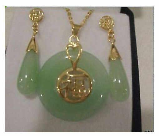 เครื่องประดับธรรมชาติ Jades จี้ต่างหูชุดสำหรับผู้หญิง