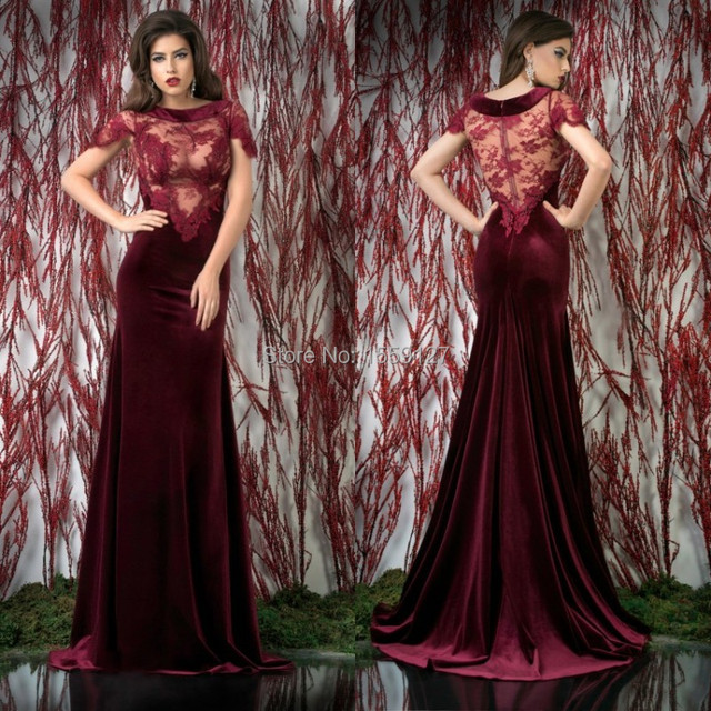 22577b454e 2017 Wine Red Lace Scalloped Short Sleeve Velvet Evening Dresses Long  Elegant Vestido de Festa Plus Size Women Dress 67020