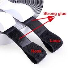 1Meter Self Adhesive Hook Loop Fastener Nylon Sticker Disks Tape Sewing with Glue Black White 16/20/25/30/50/100/110mm