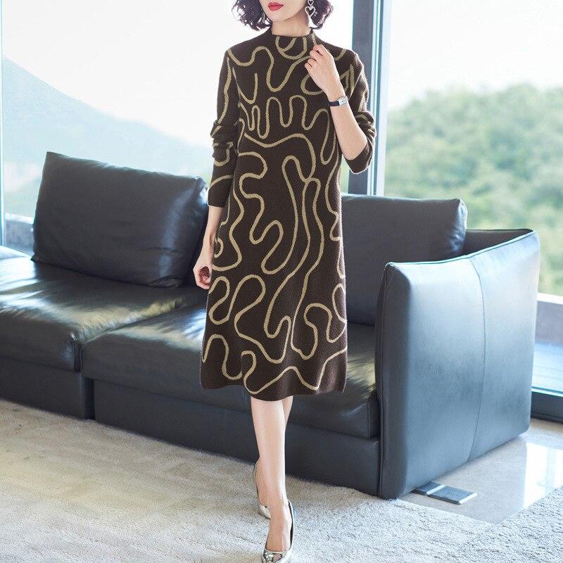 Pull robe 2018 hiver mode femmes nouveau col montant à manches longues géométrique imprimé lâche chaud laine tricoté robe Midi