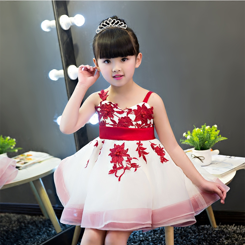 Girls Princess Party Dress 2017 New European American Fashion Summer Children Slip Dresses Kids Clothes Dress Shoulder-Straps european and american fashion girls cotton dress summer girl party princess dress pleated polka dot kids dresses for girls 5 12y