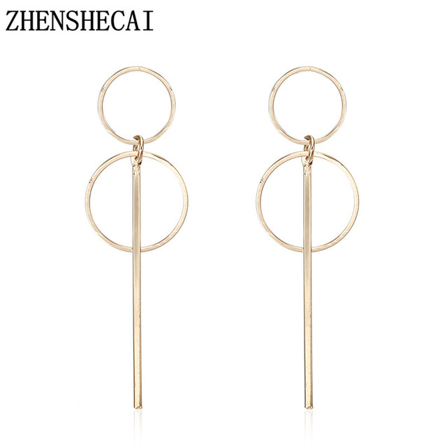 Fashion jewelry for women drop Earring Gold Sliver Color long statement two circle simple design geometric earring gift e0204