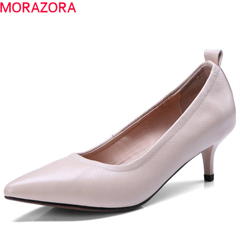 MORAZORA 2018 hot sale women pumps spring summer genuine leather shoes shallow solid color party wedding shoes high heels shoes morazora 2018 hot sale women pumps pointed toe summer shoes genuine leather shoes buckle party shoes fashion high heels shoes
