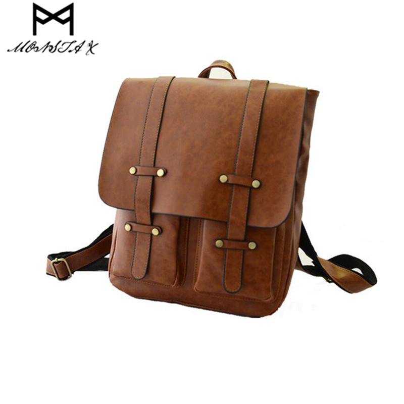 Monsta X Backpack Vintage Large School Bags For Teenage Girls Shoulder Bag PU Leather Backpacks  Casual Solid Rucksack 4 colors jmd backpacks for teenage girls women leather with headphone jack backpack school bag casual large capacity vintage laptop bag