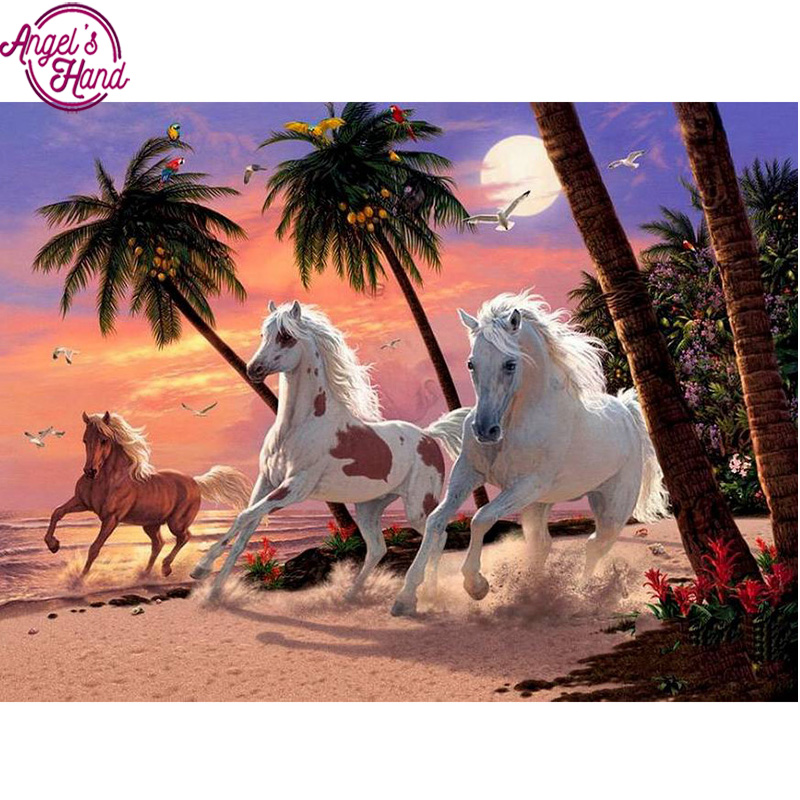 5D DIY diamond embroidery sunset beach horse diamond painting Cross Stitch full drill Rhinestone mosaic decoration