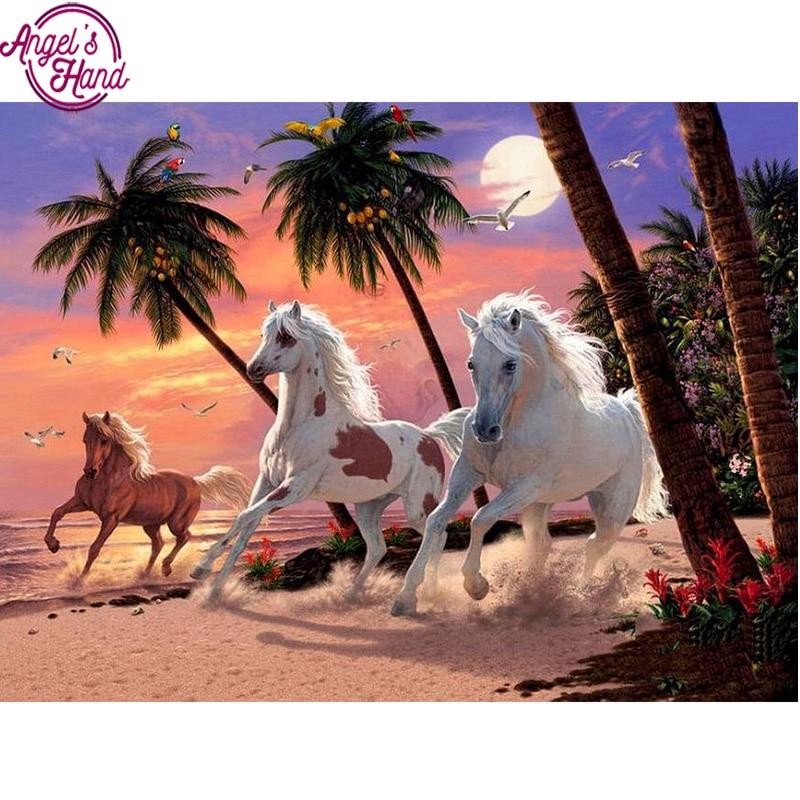 5D DIY diamond embroidery sunset beach horse diamond painting Cross Stitch full drill Rhinestone mosaic decoration