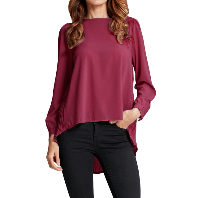 Chiffon Long Sleeve Summer Causal Pleated Office Shirt