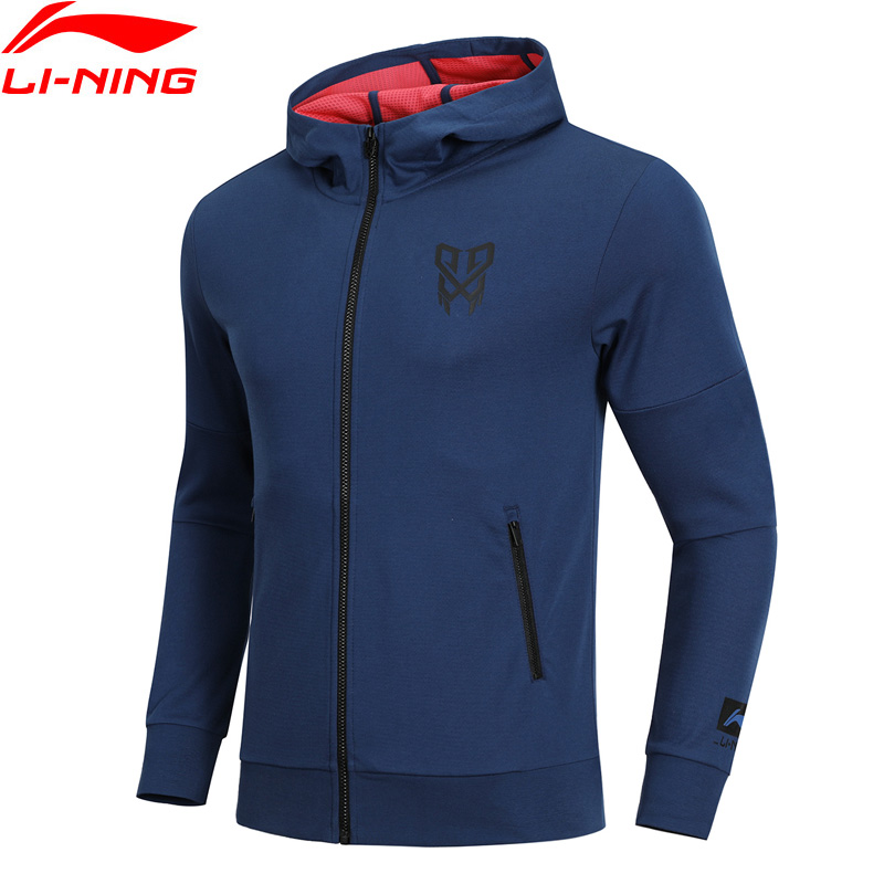 Li-Ning Men CBA Basketball Series Sweater Hoodie Slim Fit 74% Cotton 26% Polyester LiNing Comfort Sports Coat AWDN341 MWW1415 men s slim fit splicing pullover double breasted hoodie