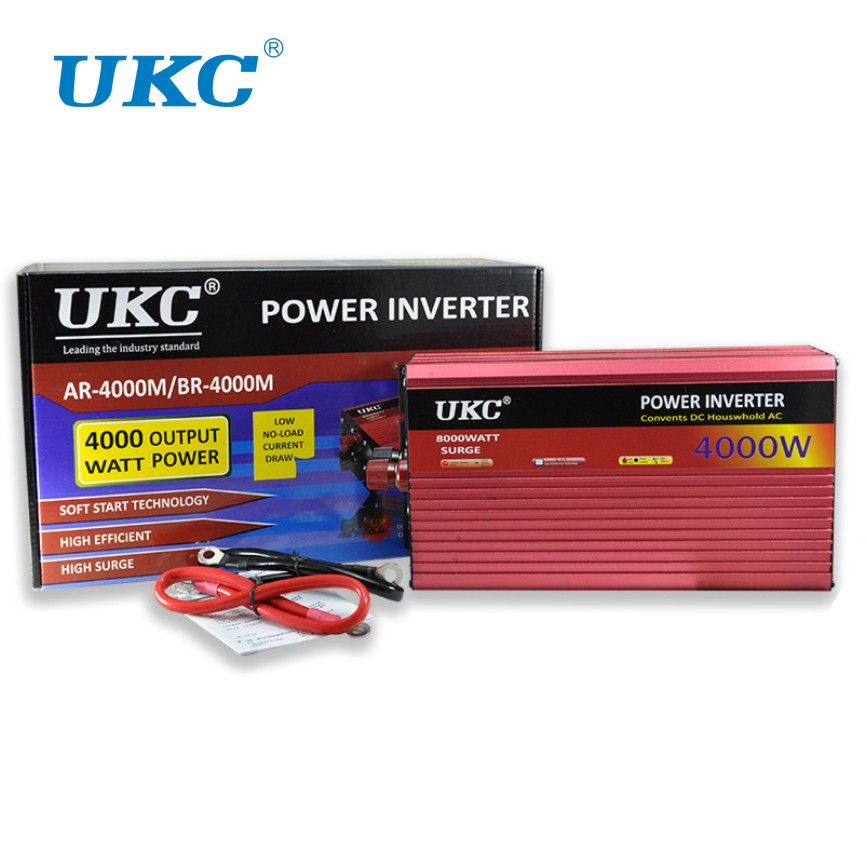 UKC 2000W 3000W 4000W Car Power Inverter Converter DC 12V To AC 220V 50HZ Full Protection AC Power Inverter USB Charger Adapter new acehe 1500w car dc 12v to ac 220v overload protection reverse polarity protection power inverter charger converter
