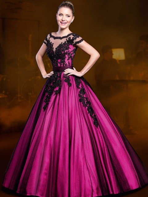 Purple Ball Gown Sheer Neck Fuchsia And Black Lace Crystals
