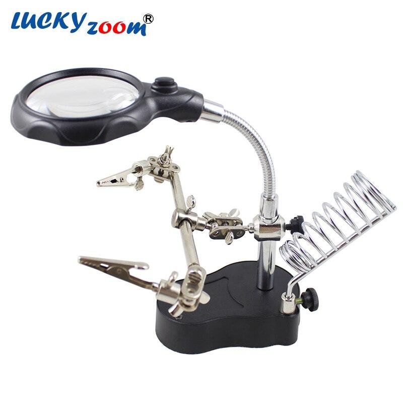 Luckyzoom Noir Lampe de Table 2 LED Lecture Loupe Éclairante Bureau D'inspection Électronique Réparation Pince loupe Loupe Vente Chaude