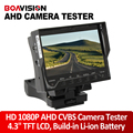 """4.3 """"tft lcd hd 1080 p ahd tester cvbs cctv câmera tester segurança vigilância cctv camera tester dc 12 v saída de cabo rj45 teste"""