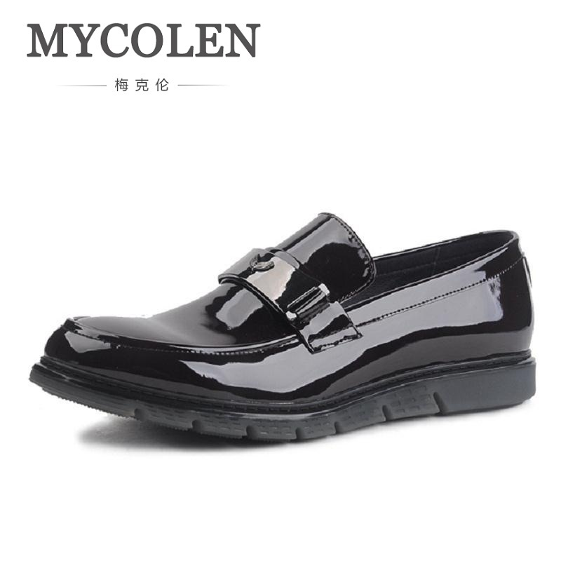 MYCOLEN Classic Designed Patent Leather Handmade Slip On Leather Shoes Men Shoes Men Party And Wedding Loafers Men Sapatenis 2018the new women s patent leather and shoes classic korean version of the classic korean shoes red wedding shoes