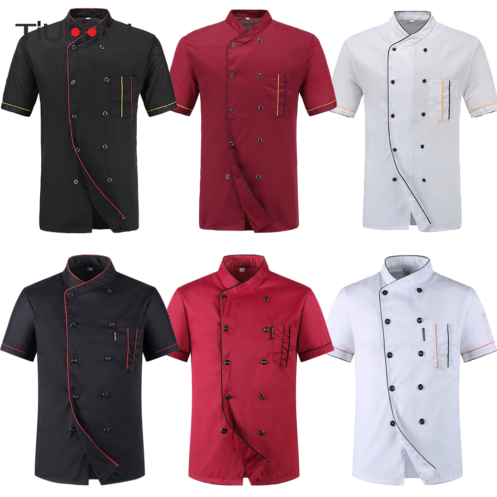 Chef Uniforms Food Service Restaurant Kitchen Work Short Sleeve Double Breasted Sushi Bakery Cafe Waiter Catering Jackets