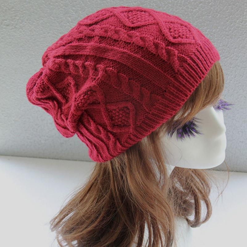 1Pcs Fashion Women New Design Caps Beanie Twist Pattern Solid Color Women Winter Hat Knitted Sweater Hats For Women Bonnet Femme