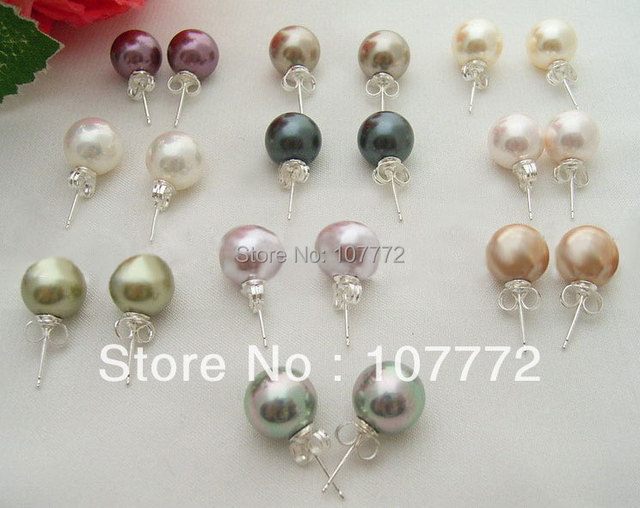 @@~~ Wholesale 10 Shell Pearl Earring-925 Sliver Stud   free+ shippment