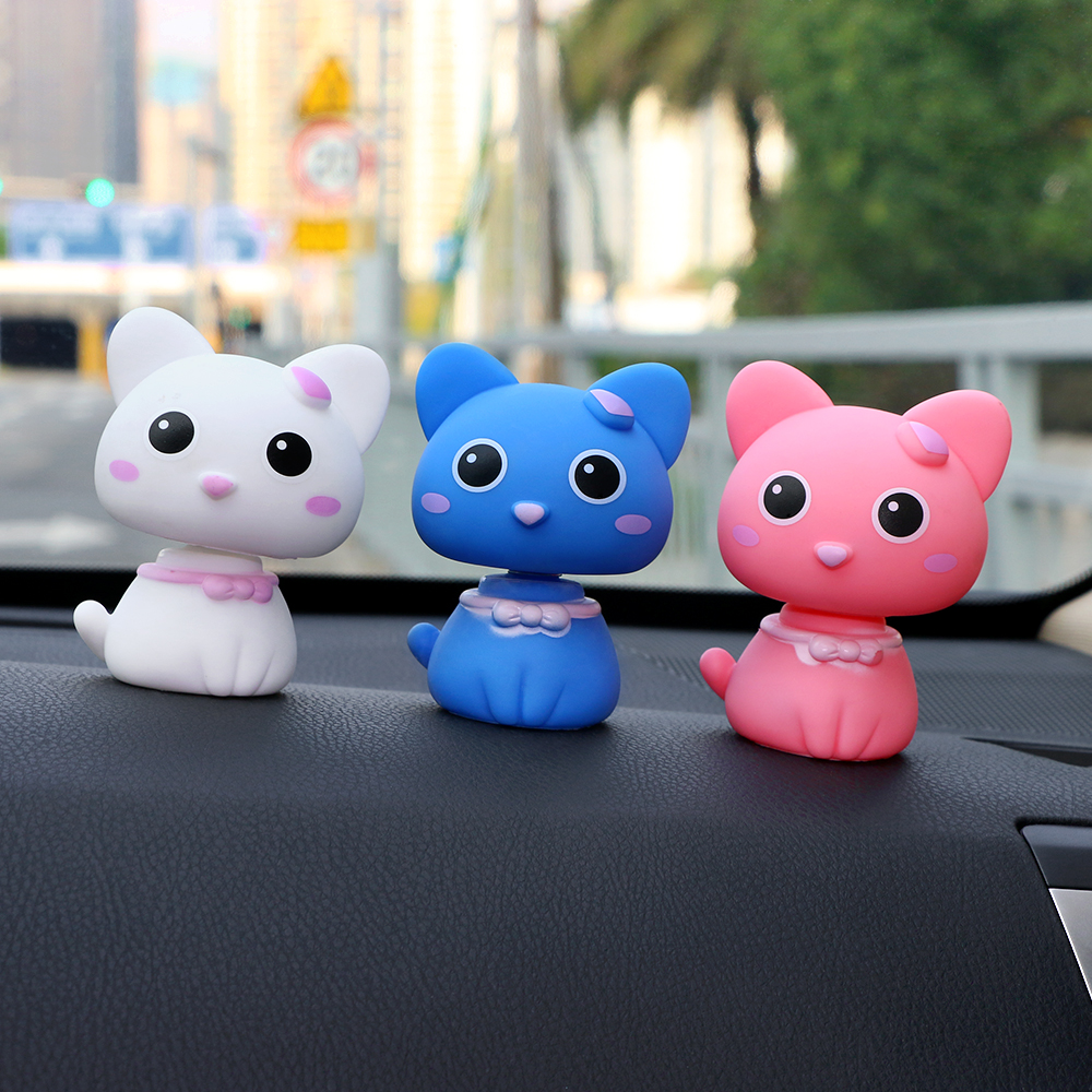 Car Ornaments Cute PVC Shaking Head Cat Figures Doll Kawaii Decoration Automobiles Interior Dashboard Nodding Toys Accessories
