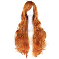 Soowee 20colors Long Curly Hair Orange Brown Cosplay Wigs Heat Resistant Synthetic Hair Accessories Party Wig for Women