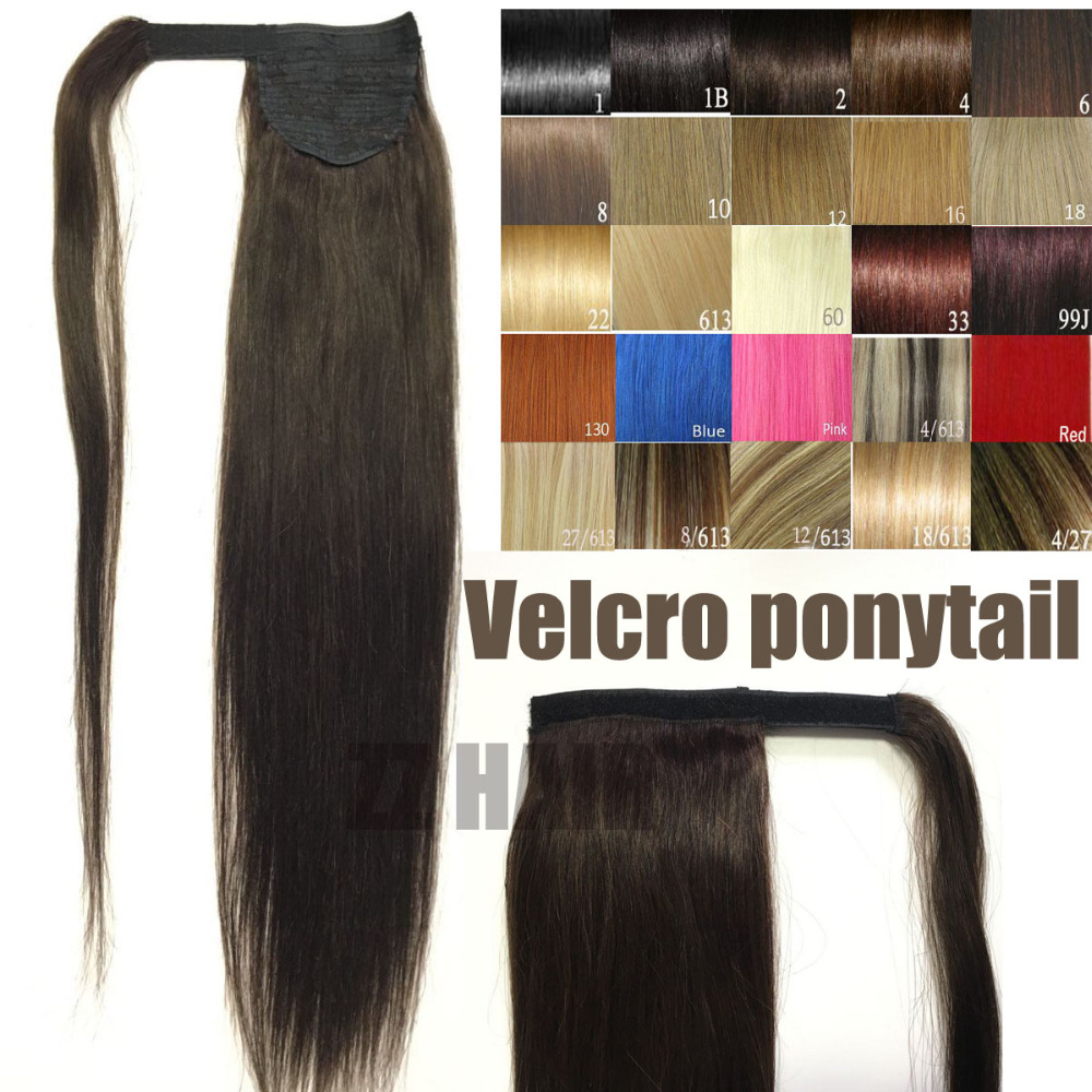 "16""18""20""22""24""26""28"" 100% Brazilian Remy hair Clips In/on Human Hair Extensions magic Horsetail Ponytail #1b off black 80g-140g"