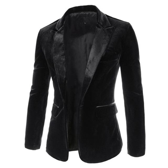 Nueva Llegada Solo Botón Blazers Ocio Hombres 2016 Fashion Slim Fit Traje Casual Blazer Vino Negro Vestido Ropa 13M0463