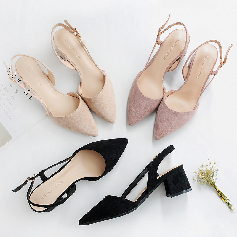 New Autumn Spring High Heels Shoes Woman 2019 Female Flock Straps Slingback Square Women Sandals Casual Wedding Shoes Pumps