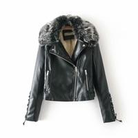 Fleece PU Jacket Leather Women Winter Thicken Warm Outerwear Fur Collar Detachable Adjustable Waist Casual Moto Biker Laidy Coat