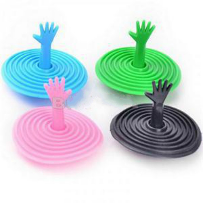 1Pcs Creative Lovely Hand Shape Sink Plug Water Plug Rubber Sink Bathtub Stopper Color Random