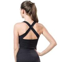 Fitness Yoga Women Solid Cross Quick Dry Breathable Running Training Nylon Elastic Workout Pad Tank Sports Yoga Shirts