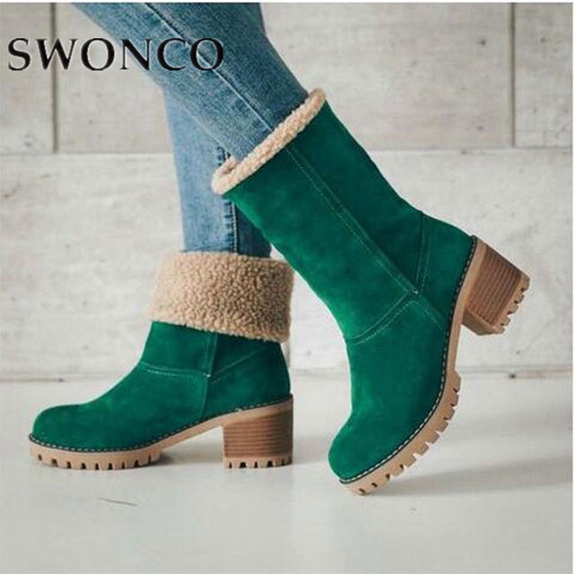 SWONCO Women Boots Ladies Winter Boots Plus Size 43 Thick Plush Christmas Green Boot 2019 Artificial Fur Inside 2 in 1 Snow Shoe