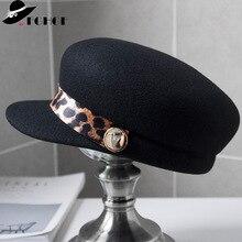 Vintage Style Black Leopard Band Winter Beret Cap 100% Wool Felt Hat Newsboy Cap for Women Warm Visor Hat Cap Ladies Cap