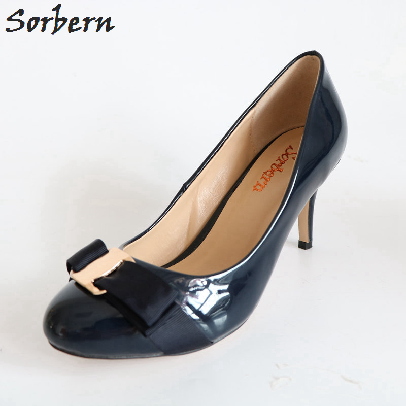 Sorbern Navy Blue Round Toe Pumps Low Heels Bow Vintage Shoes Women Plus Size Stilettos Size 15 High Heels Zapatos Tacos Mujer plus size high low patriotic tank top