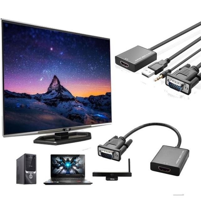 Venda quente VGA Para A Saída HDMI 1080 P HD TV De Áudio AV USB Cabo Conversor Adaptador de Vídeo HDTV fácil de transportar muito agradável