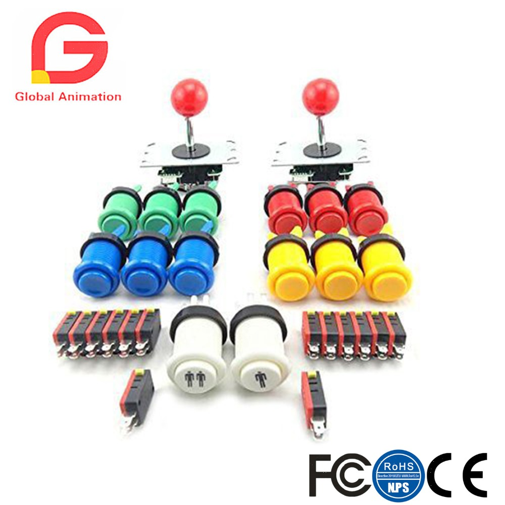 2 Player Arcade DIY Parts Kit 5Pin 8 Way Joystick +12 Pcs And 1 /2 Player Button With Microswitches For USB MAME Projects