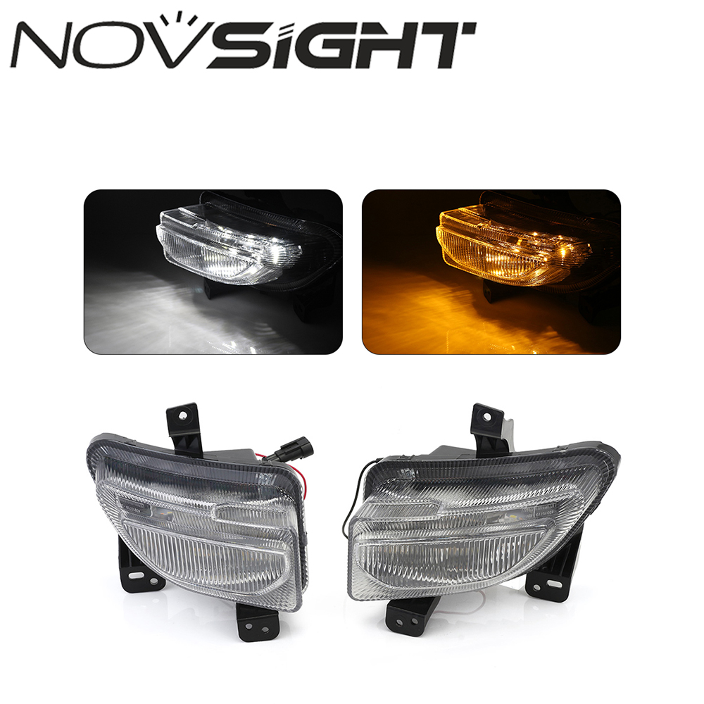 NOVSIGHT Auto Car LED Daytime Running DRL With Yellow Turn Signal Light White Day Lights For Jeep Renegade 2015-18 2pcs car led turn signals drl headlight canbus kit 1156 daytime running front light yellow white turn signal lamp
