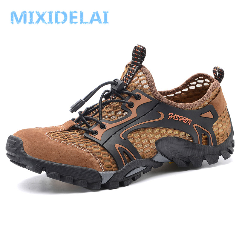 MIXIDELAI 2020 Summer Spring Men Shoes Casual Mesh Genuine Leather Patchwork Breathable Outdoor Male Sneakers Walking Footwear