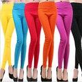 Nueva moda de la alta cintura del Color del caramelo telas tejidas nueve Leggings transpirable estiramiento de las polainas delgadas Leggins Mujer 20 colores BG255