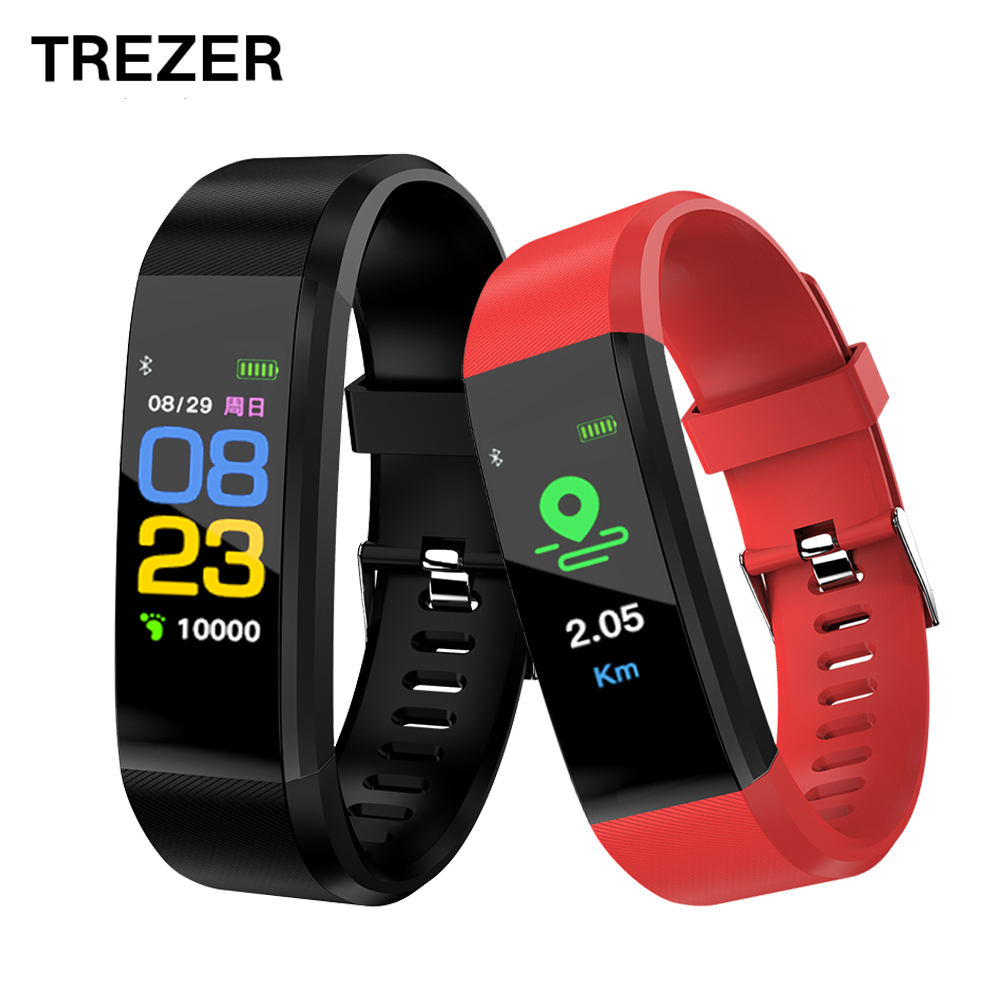 TREZER 115 PLUS Smart Band Sports Color Screen Smart Bracelet Heart Rate/Blood Pressure Monitor IP67 Waterproof Activity Tracker
