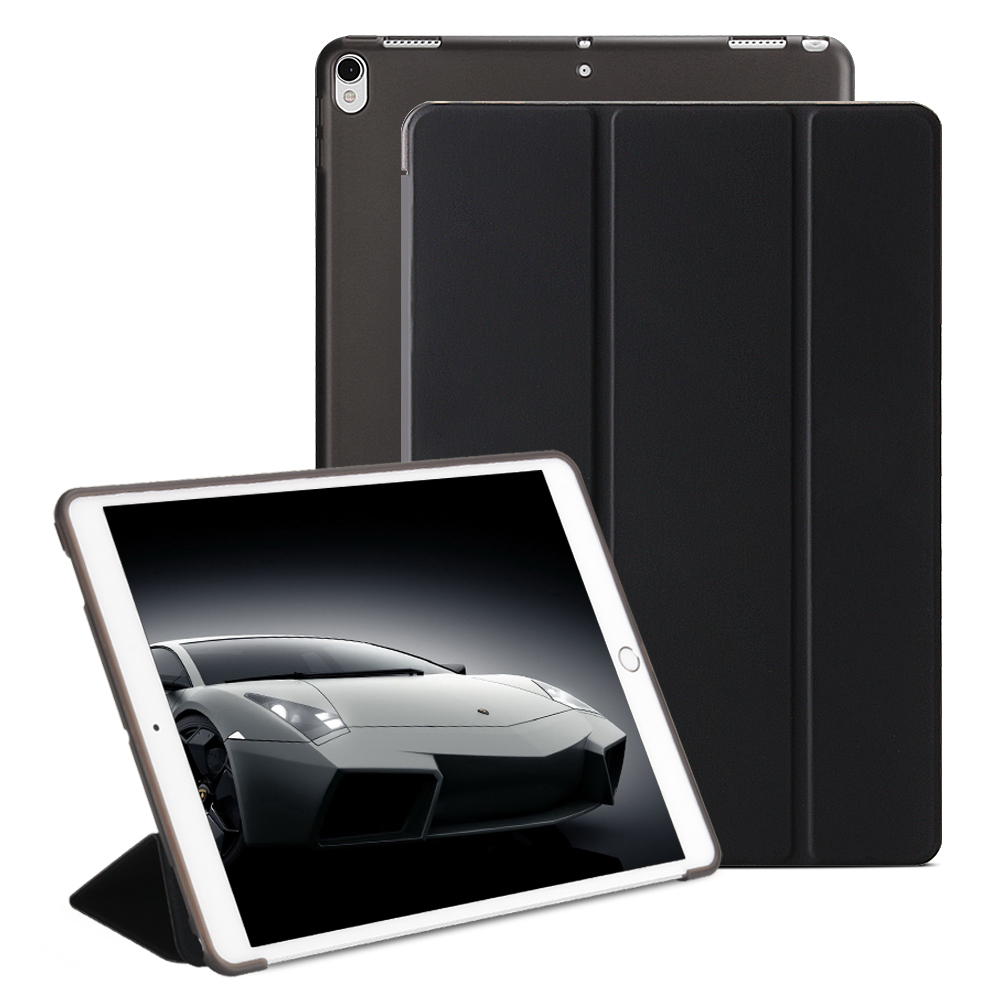 Flip Cover For Ipad Pro 10.5 Case 2017 Folio 3 Fold Stand Sleep Wake Translucent Soft TPU Back Smart Cover For Ipad 10.5 Case