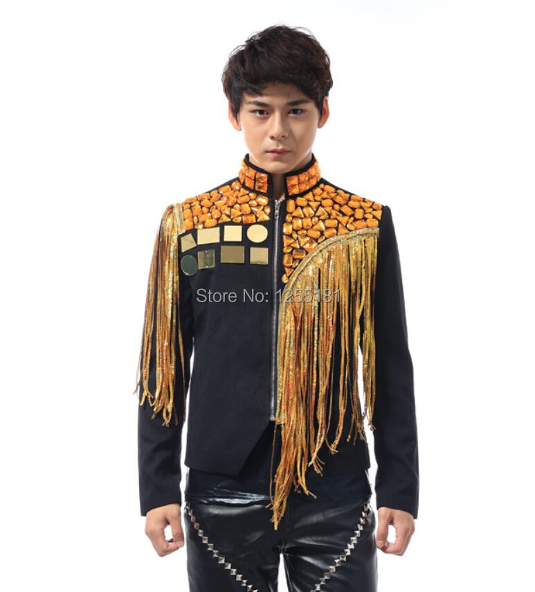 Новый стиль моды мужчины DJ певица тонкий ночной клуб золота с бриллиантами и блестками костюмы Man Одежда для сцены куртка мужская кисточкой