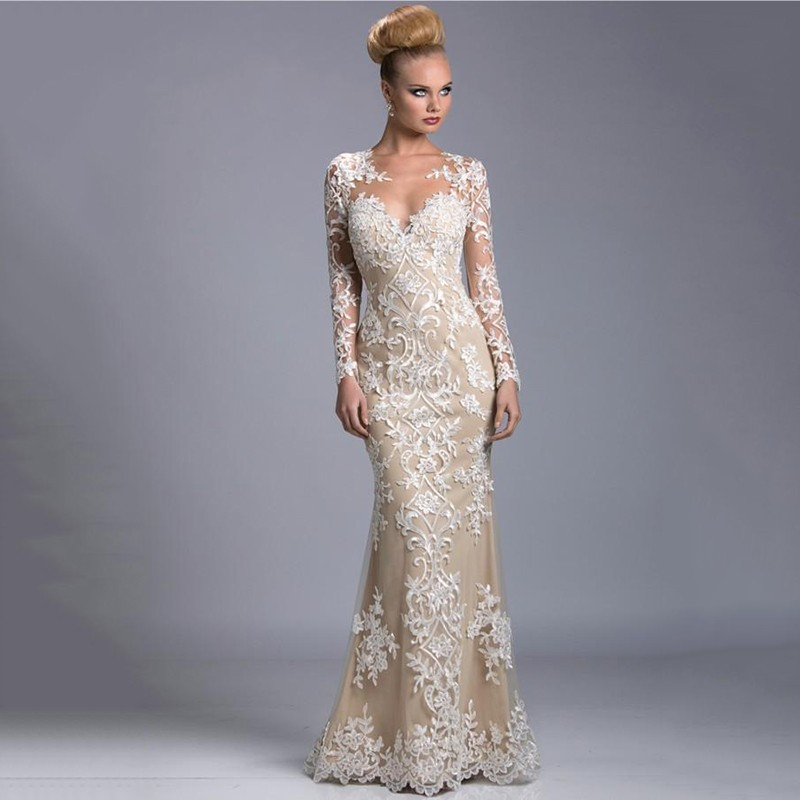 9535631b4716 New Arrival Lace Mermaid Prom Dresses Champagne Lining White ...