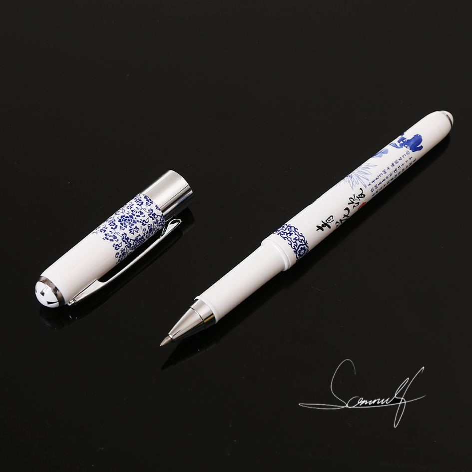 Know Elegant Chinese Blue and White Porcelain Printed Gel Pen Writing Signing Pen Stationery School Office Art Supplies 0.7mm