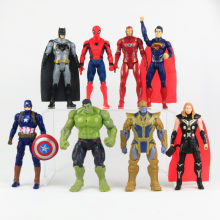 8 pçs/lote 14 CENTÍMETROS Marvel Action Figure Toys The Avengers Luz Joint Moveable Superhero Spider Man Hulk Thor Capitão América Boneca(China)