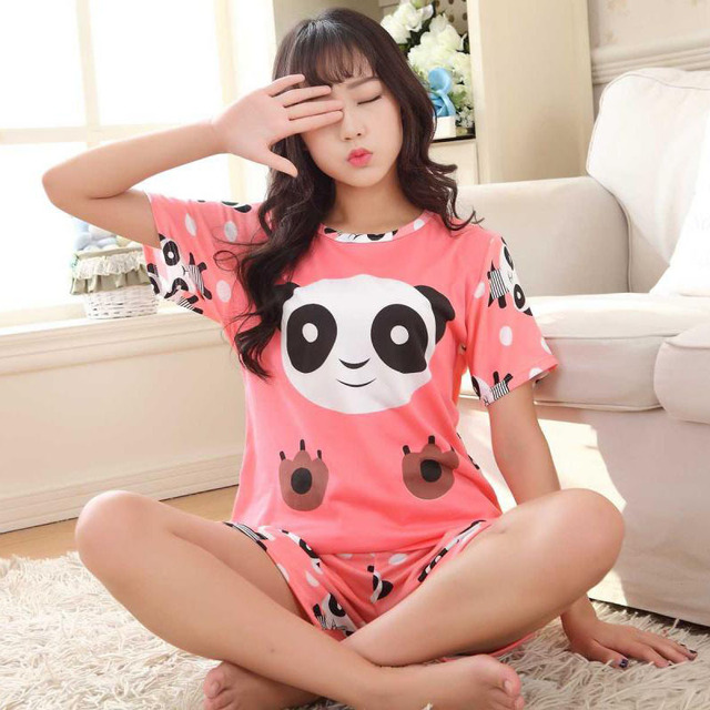 2017Women Pajamas Sets Summer Short Sleeve Thin Cotton Cartoon Print Cute Loose  Sleepwear Girl pijamas Mujer 9beb1f882