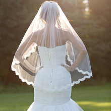 2016 Bridal Veil Tulle Lace Edge Cheap Short Wedding Veils veu de noiva longo In Stock