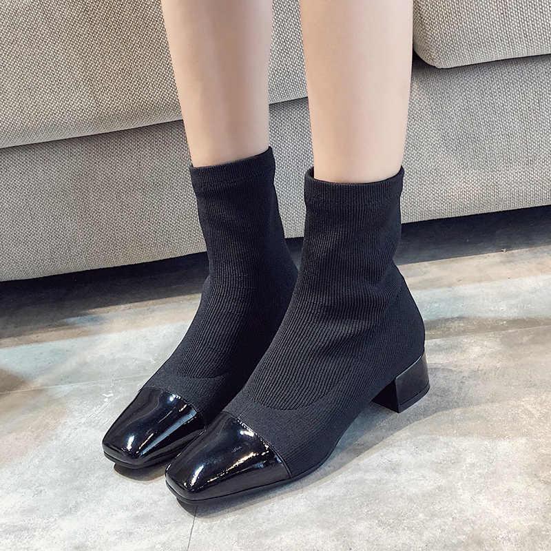 HEE GRAND/пикантные вязаные зимние теплые ботильоны женская обувь с квадратным носком Женские однотонные ботильоны без застежки Размеры 35-39, XWX6882