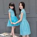 2016 семья соответствия мать дочь платья одежда кружева qipao мама и дочь платье партии дети родитель ребенок наряды