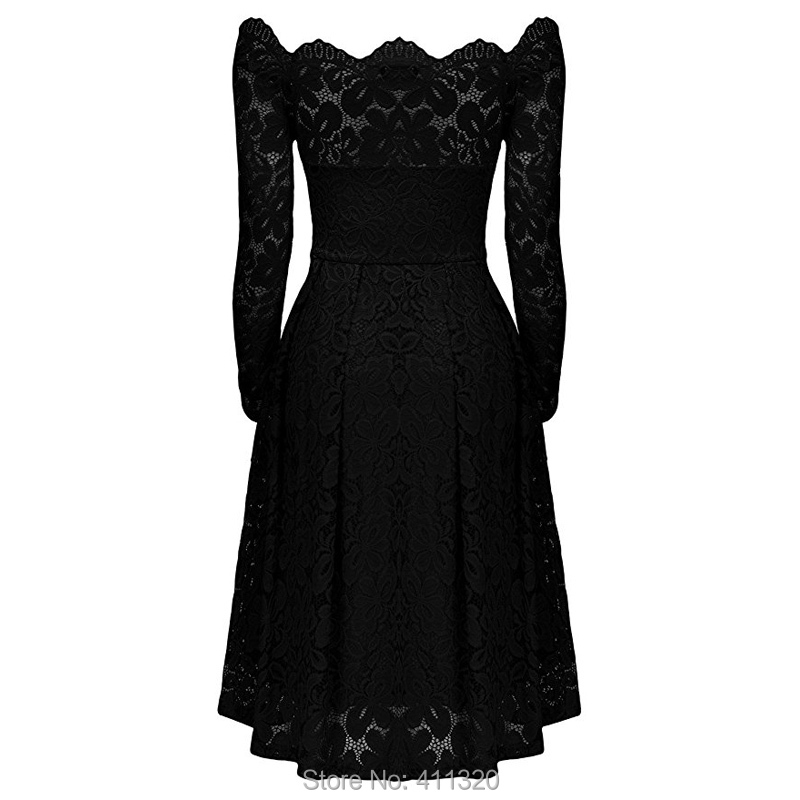 Robe Femme Sexy Vintage Floral Lace Dress Women Elegant Long Sleeve 50s 60s Retro Style Rockabilly Swing Wedding Party Dress (4)