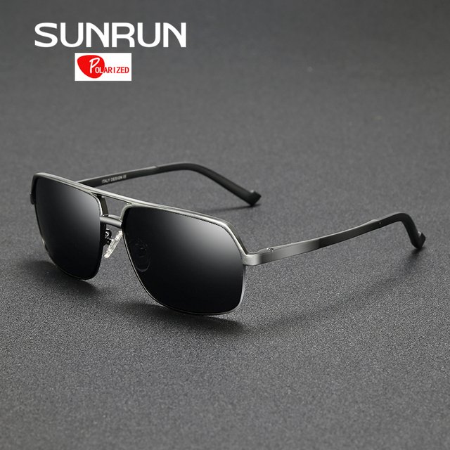 SUNRUN Sunglasses Polarized Men Aluminum Metal Frame Large Size Sun Glasses Mirror Eyewear Accessories lentes de sol hombre 8549