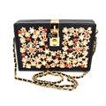 Black Crystal Diamond Pearl Clutch Bag Fashion Chain Box Shoulder Bag Lock Flap Evening Bag Women's Pu Fashion Handbags Z914